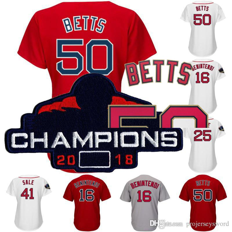 Dame et Jeunesse Boston 2018 Champions Patch S Patch 2 Xander Bogaerts 16 Andrew Benintendi 26 Wade Boggs 28 J.D. Martinez Maillot 50 Mookie Betts