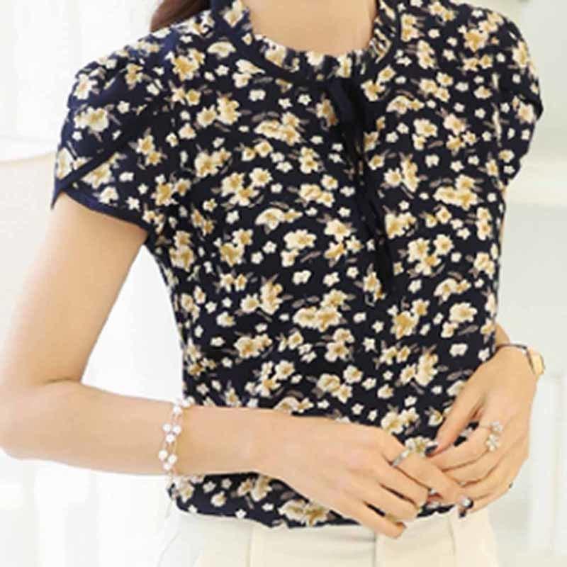 b4b62c73cc 2019 Good Quality 2019 Summer Floral Print Chiffon Blouse Ruffled Collar  Bow Neck Shirt Petal Short Sleeve Tops Plus Size Blusas Femininas From  Jincaile08