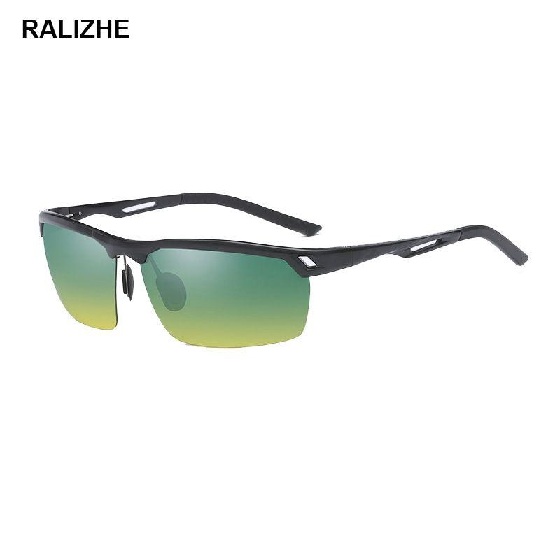 17acb4eef4cf5 Polarized Sunglasses Aluminium Magnesium Frame Day Night Vision Driving  Anti Glare UV400 Glasses Semi Rimless 65mm Green Yellow Outdoor Men  Polarised ...