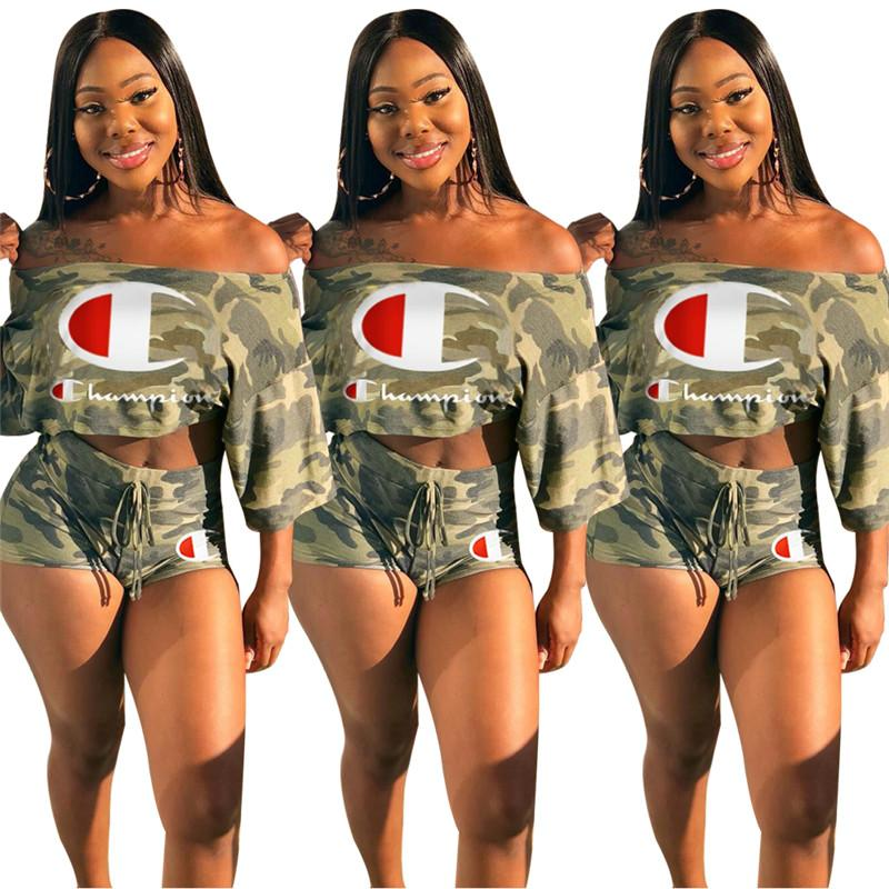 a0cfb48c30 2019 Champions Women Camo Tracksuit Summer Flat Off Shoulder Tshirt Crop  Top And Shorts Outfits Yoga Gym Matching Set Sport Suit C42409 From  Pinkaboo_cargo, ...