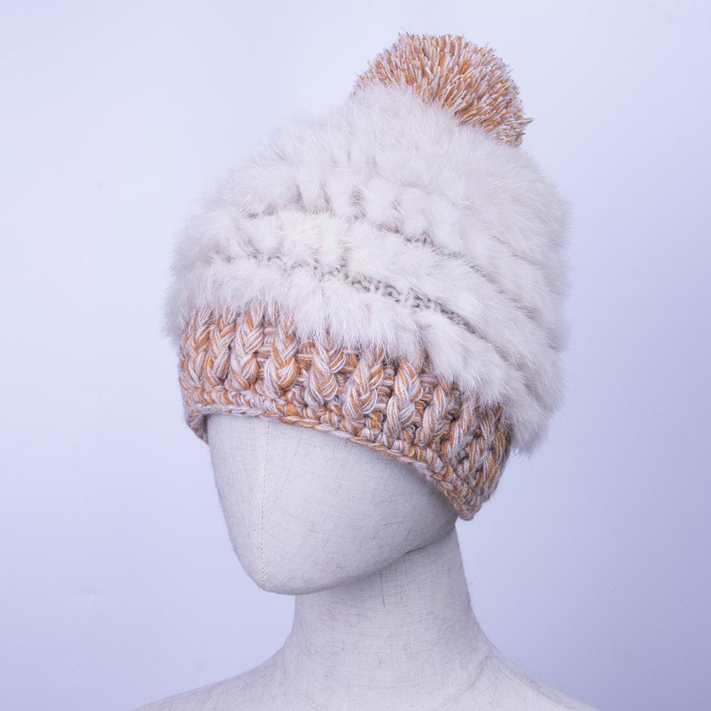 Cute Girls Caps Hats Winter Warm Handmade Knitted Rabbit Fur Cap Hat For  Women Large Pom Hats Ladies Beanies Skullies Winter Fitted Caps Knit Hats  From ... 2c84cc68558