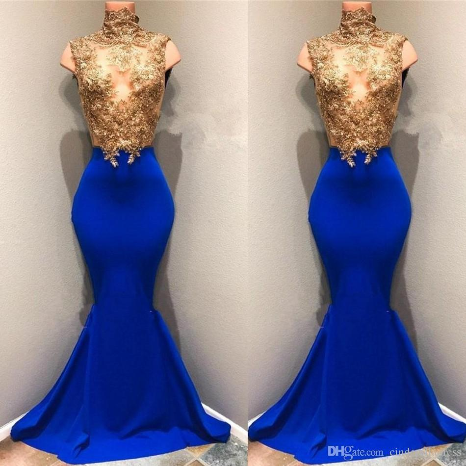 Modest African Gold Top Lace Appliqued Prom Dresses 2019 High Neck Mermaid  Sequins Royal Blue Sleeveless Sheer Evening Gowns BA8174 Long Gowns Pink  Prom ... 937799933ef0