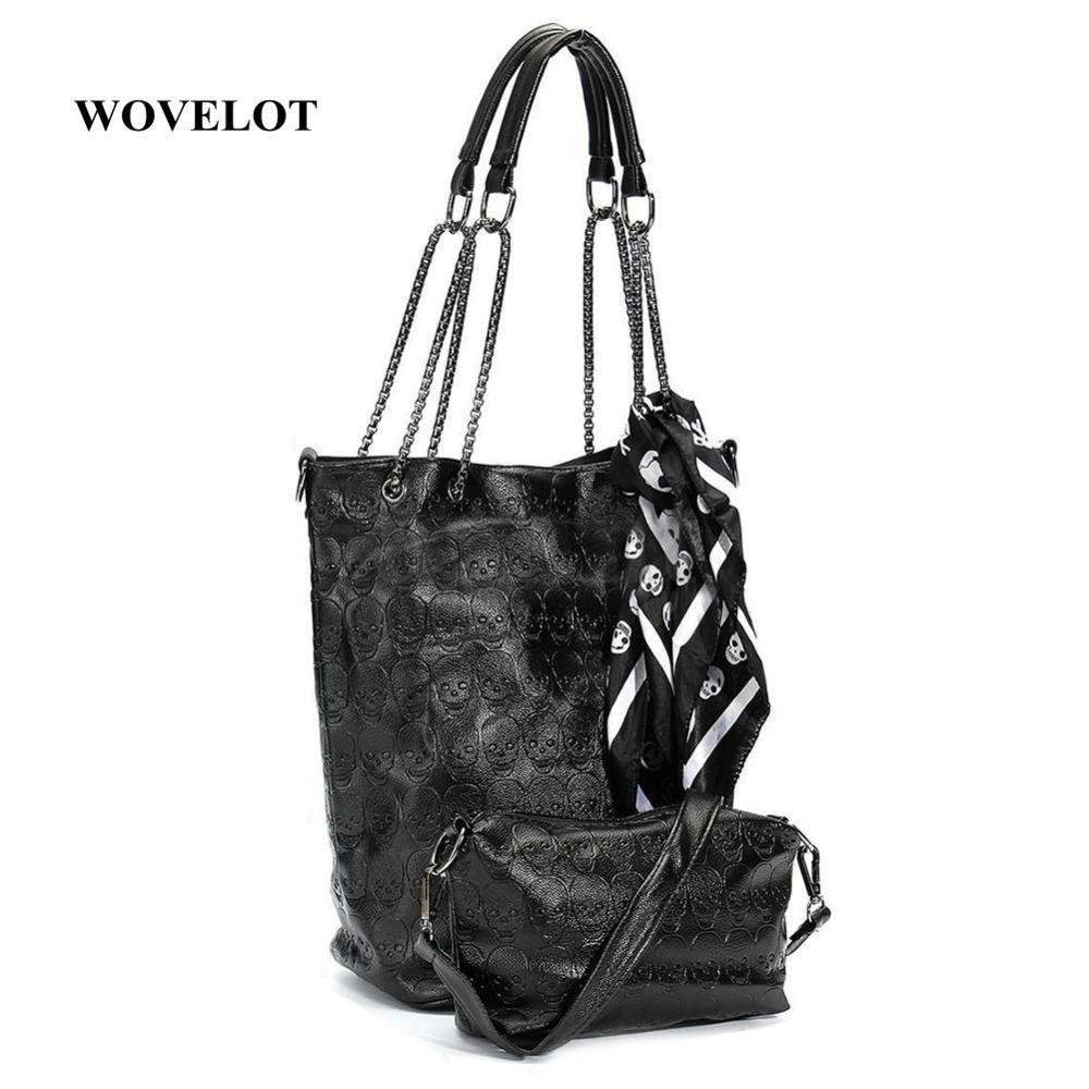dfa237f4133b Designer FGGS Fashion Skull Women Handbag Shoulder Bag Tote Purse Leather  Crossbody Bag With Silk Female Black Handbags Handbags For Women Mens  Messenger ...