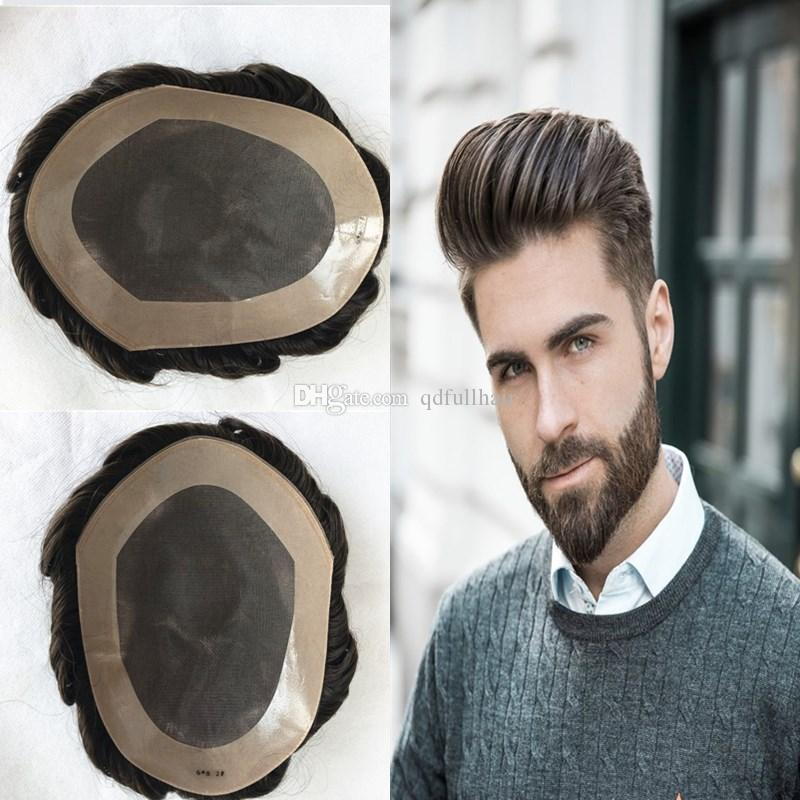 baf949788 2019 Fine Mono Men Toupee Wave Human Hair Toupee Mono Lace With PU Around Toupee  Replacement Systems Indian Hair Men Hairpiece Hot Sale From Qdfullhair, ...