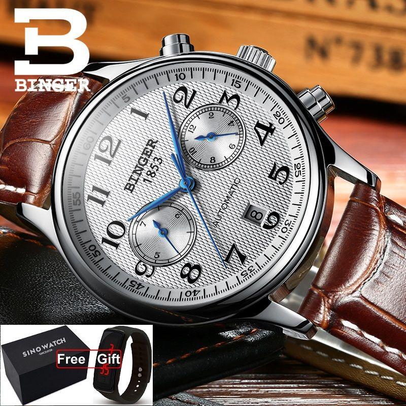 57b7f0a1040 Compre Suíça Binger Marca De Luxo Relógios Dos Homens Relogio Relógio À Prova  D  Água Masculina Mecânica Automática Homens Relógio De Safira B 603 54  Novo ...