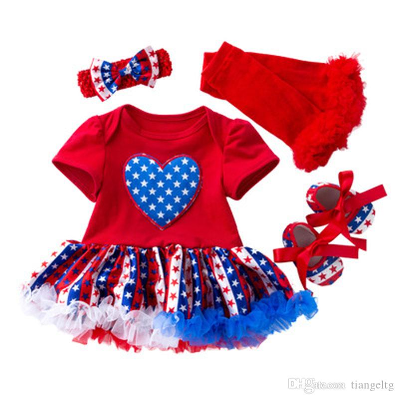 Baby Rompers Clothing Sets Four Piece Suit Solid Elastic Stock American Flag Independence National Day Star Printed Shoes Bow Headband