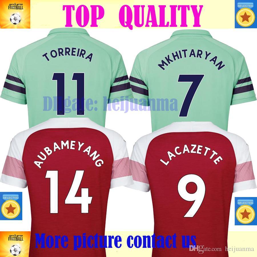 6261b2afd32 2019 Thailand Aubameyang Soccer Jerseys 2018 2019 AUBAMEYANG OZIL JERSEY 18  19 LACAZETTE TORREIRA Football Kit Top MEN Soccer Shirt From Heijuanma