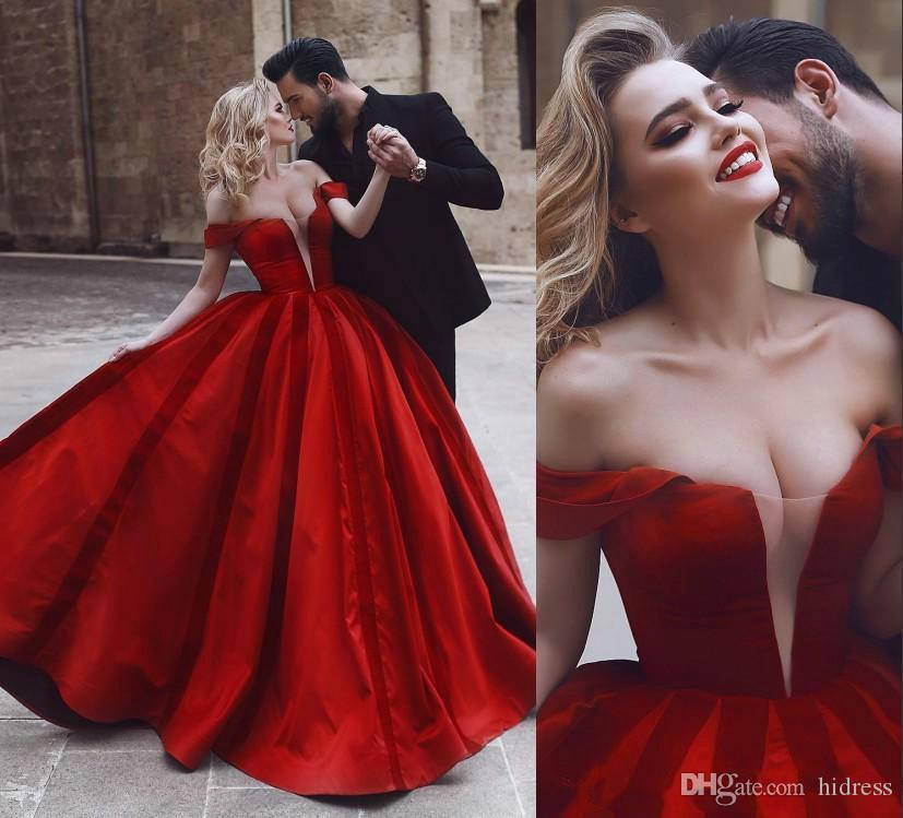 2019 Romantic Off Shoulder Red Sexy Wedding Dresses Middle East Arabic African Vestido de novia Bridal Gown Plus Size Custom