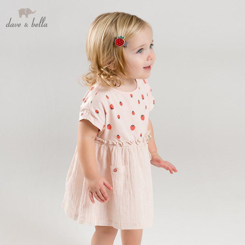 3c5746ae735e4 DB9951 dave bella summer baby girl's princess cute bow dress children party  dress kids infant strawberry print lolita clothes