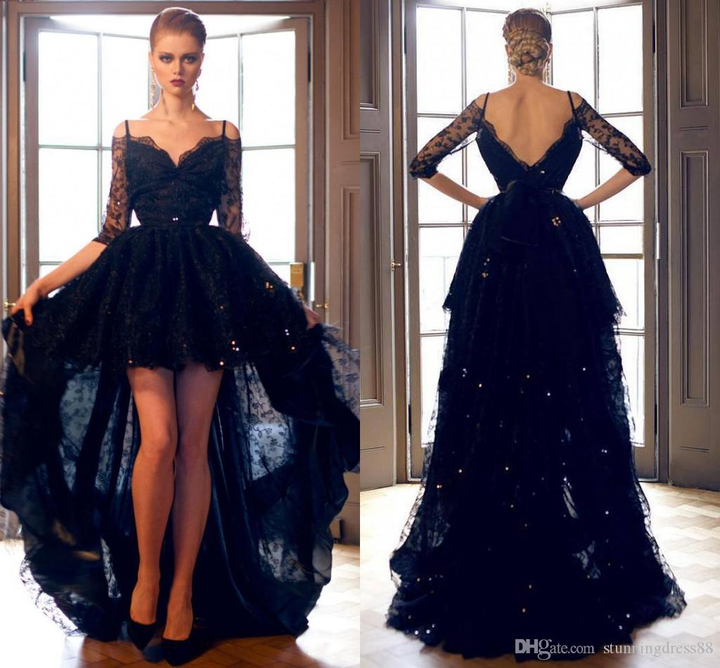 56225da54f7 Sexy Black Prom Dresses 2019 Cold Shoulder Illusion Half Sleeves Lace A  Line High Low Cheap Celebrity Formal Dress Evening Gowns Cheap New Black  Prom ...