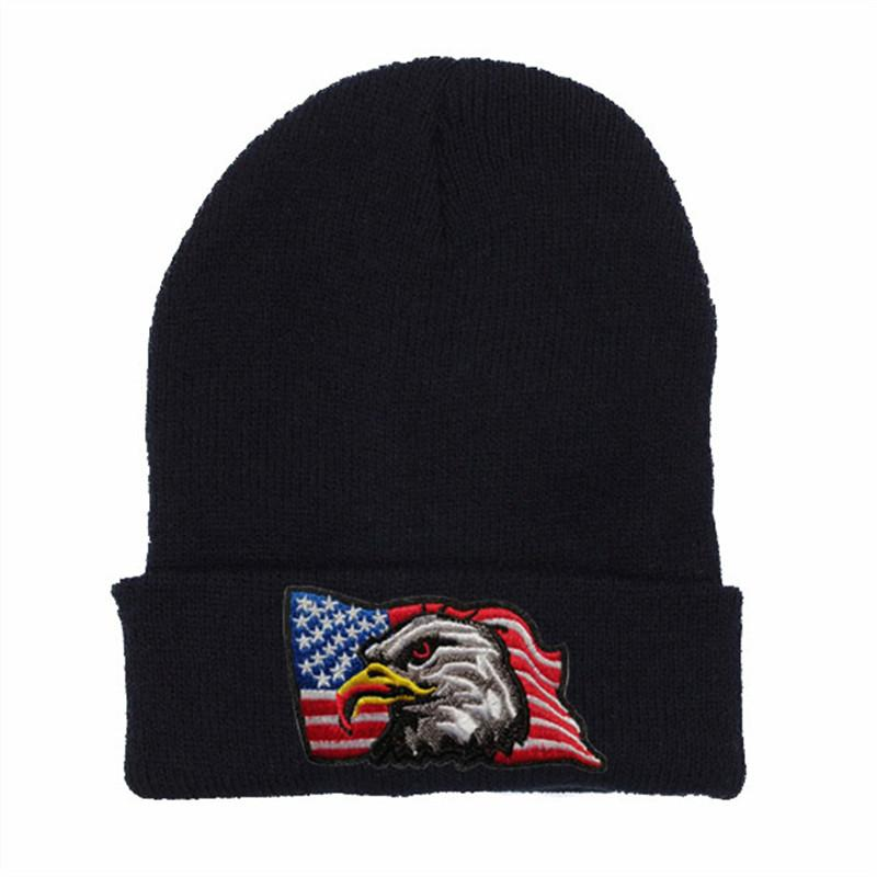 Fashion hats USA flag, eagle logo Winter Hats Casual Beanie For Men Women Fashion Knitted tiger pattern Winter Hat Skullies Hat