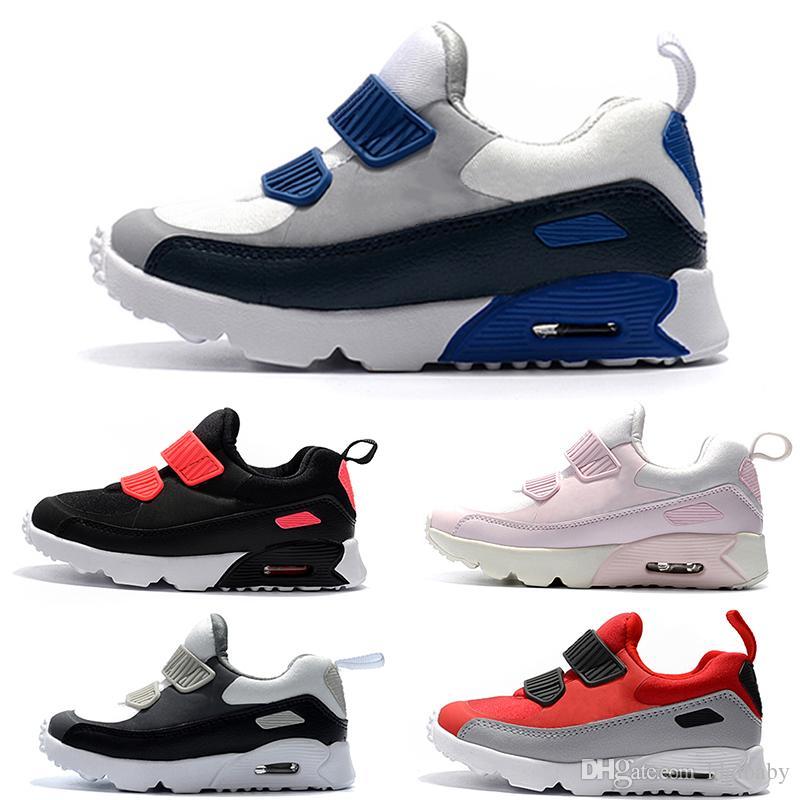 Compre Nike Air Max 90 Primavera Otoño Zapatos Para Niños 90 Rosa Rojo Negro Transpirable Cómodo Zapatillas De Deporte Para Niños Niños Niñas Zapatos