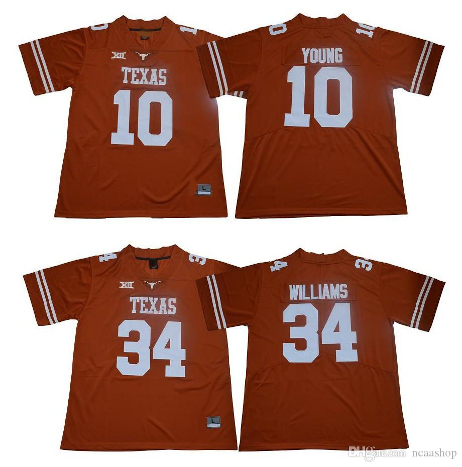 new product c5630 b8717 NCAA Texas Longhorns 10 Vince Young Jersey 34 Ricky Williams Orange College  Football Jersey Size S-XXXL