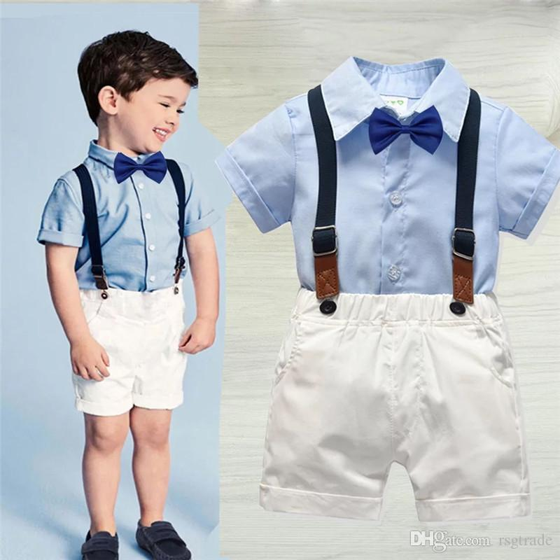 INS Kids Boys Casual Suits Spring Gentleman England Style Tatting Cotton Shirts+Bow Tie+Belt+Pants 4pcs Set Children Kids Boys Clothing Sets