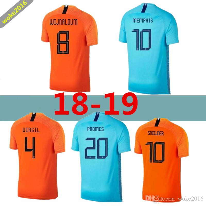62abd43dc 2019 Men 2018 2019 Nederland Soccer Jersey Netherlands Home Away Orange MEMPHIS  JERSEY ROBBEN 18 19 Thai Quality V.Persie Dutch Football Shirts From ...