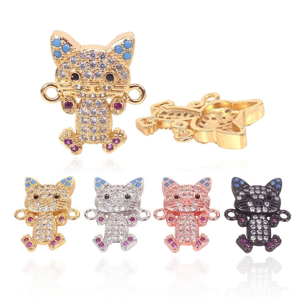 24K Gold Color Cute Micro Pave Colorful CZ Zircon Animal Cat Beads for Bracelet Jewelry Making Copper DIY Charms Connectors 2Pcs