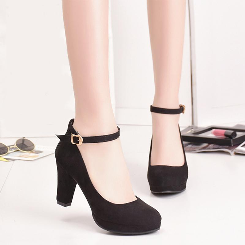 Shoes 2019 Autumn Women Pumps Flock Sweet High Heels Female Platform Classic Ankle Strap Thick Heel Round Toe Black Dress Ladies