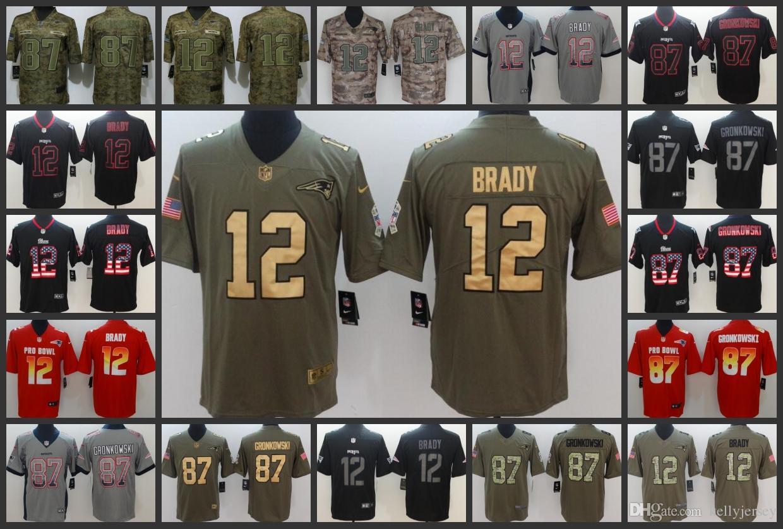 san francisco bbdb5 4fae6 New Englan Embroidery Patriots Mens Jersey #12 Tom Brady 87 Rob Gronkowski  Women Youth Limited Football Jerseys
