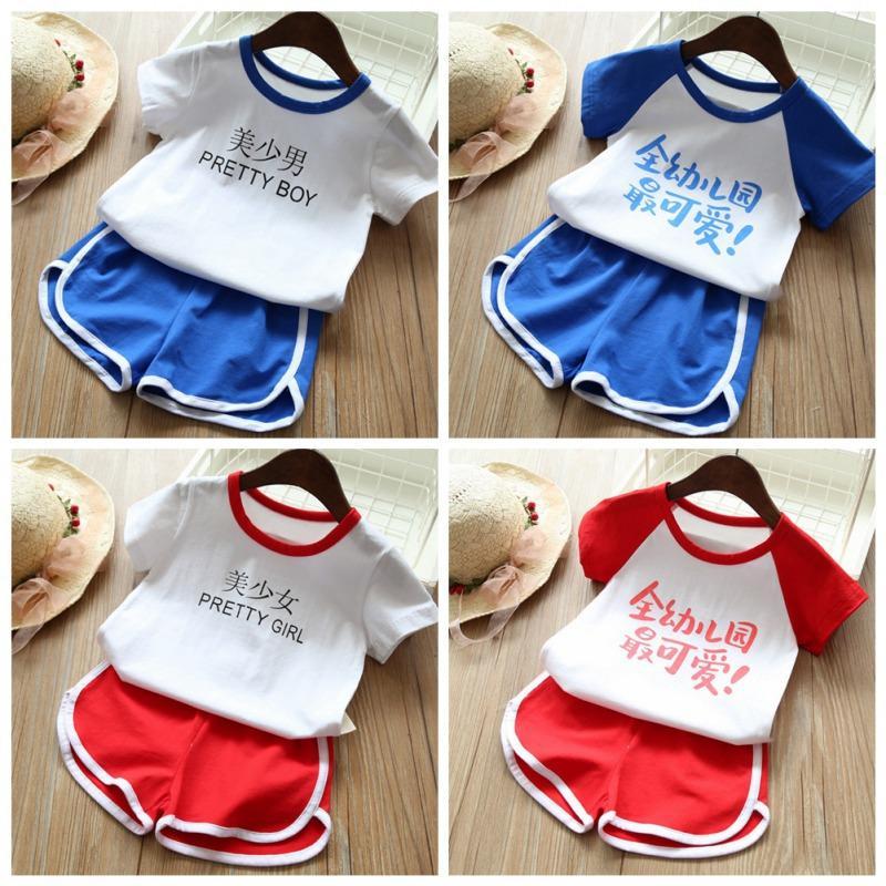 7b15e1a6ed Summer Baby Boys Girls Fashion Clothes Set Short Sleeve Letter Words Print  Tops T-shirt+Shorts Children Casual Outfits SetsA