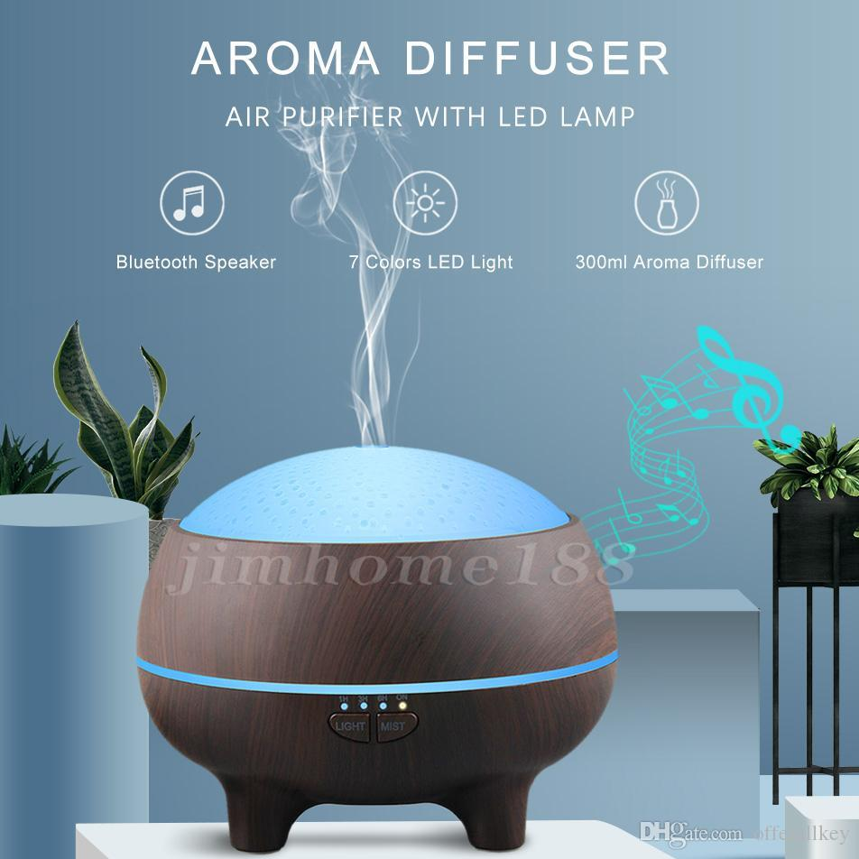 New 2019 creative wood grain aromatherapy machine ultrasonic home bedroom air purifier Bluetooth audio aroma humidifier