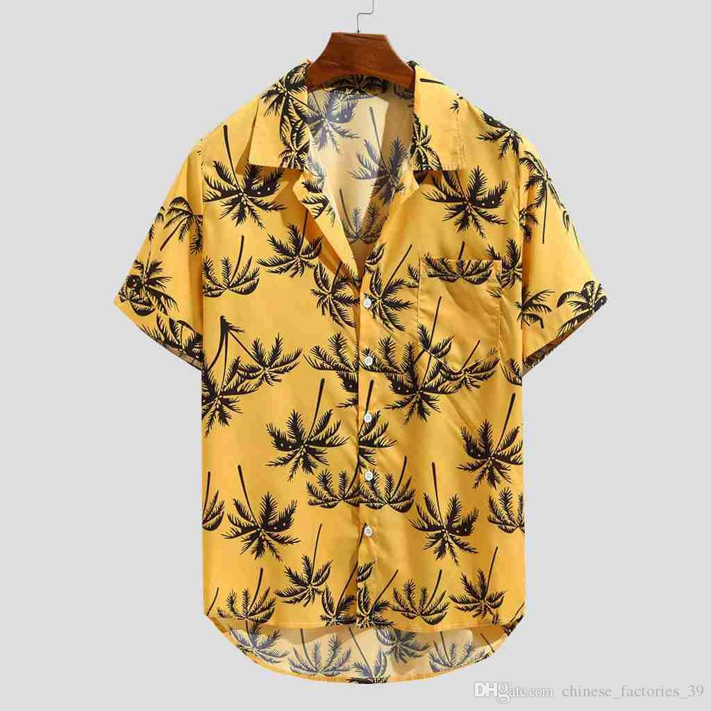 Casual Men's shirt Summer Hawaiian Printed Short sleeve shirt Casual Loose Beachwear Buttons Male Blouse Tops Camisas hombre