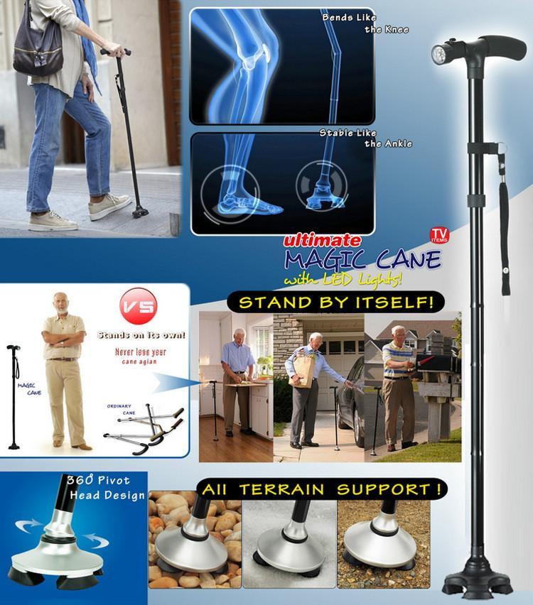 Magic Cane Folding Led Light Safety Walking Stick 4 Head Pivoting Trusty Base For Old Man T Handlebar Trekking Poles Cane New Self Defense Supplies