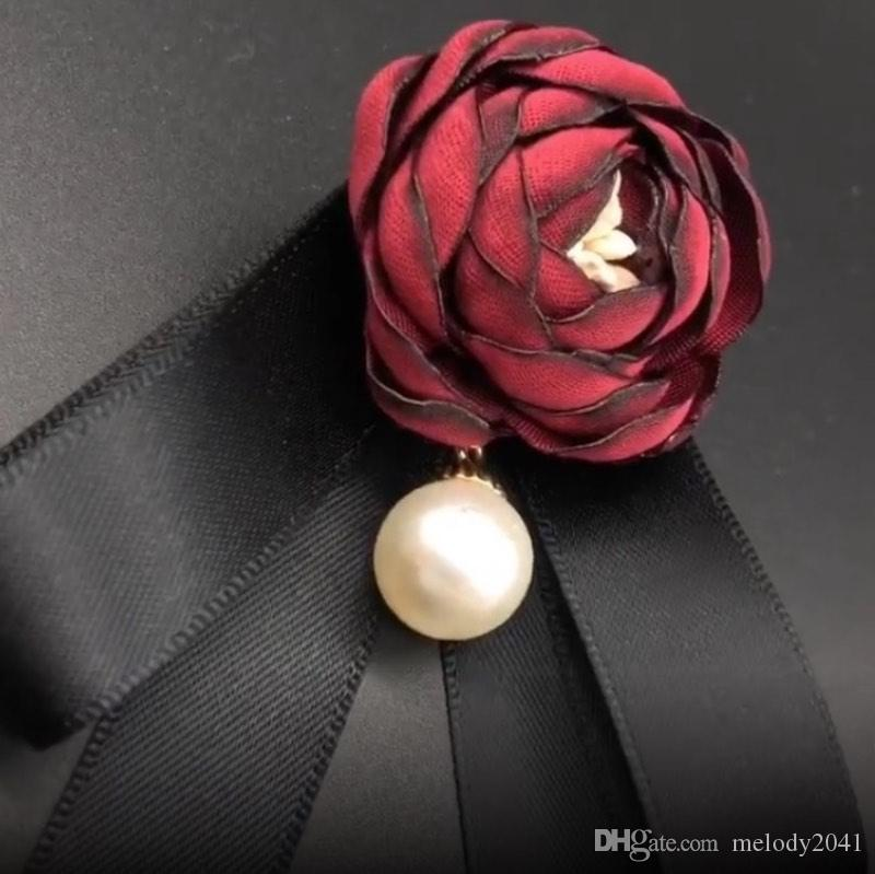 Retro Rose Pearl Flower Brooches Black Bow Tie Blouse Collar Pin Clothing Boutonniere 6 Colors Fashion Accessories Women Jewelry