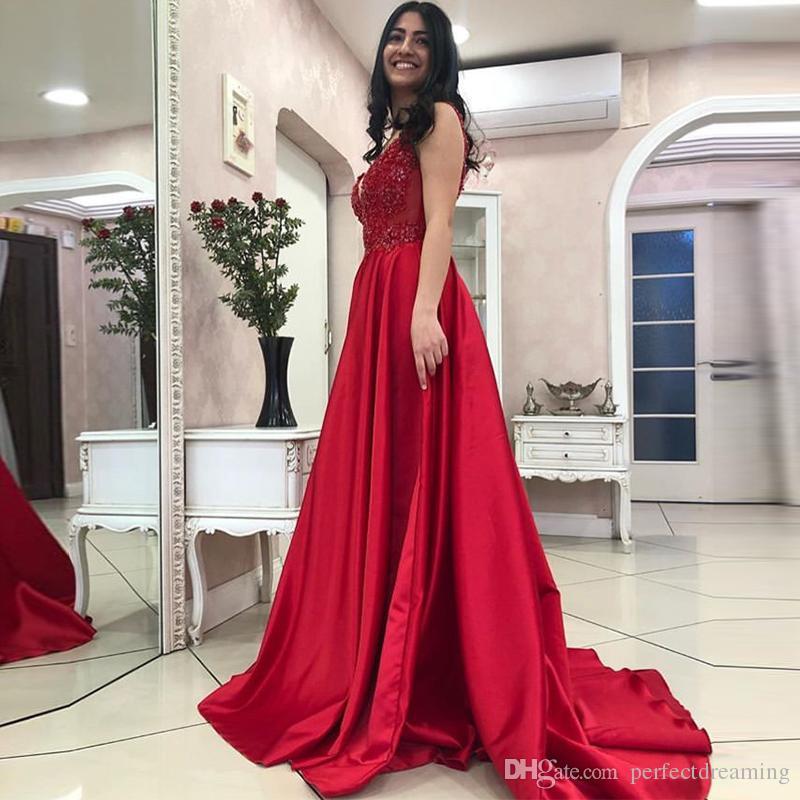 efd413e409 Compre Encantadores Vestidos De Noche Rojos Sexy Apliques Con Cuello En V  Abalorios Elegante Una Línea Vestidos Largos Sin Mangas 2019 Capilla Tren  Vestido ...
