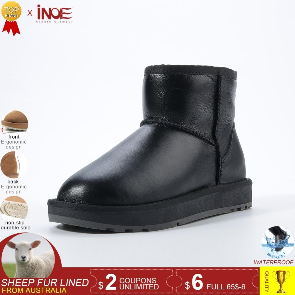 b2471420e29 INOE classic waterproof sheepskin leather fur lined short winter snow boots  for women casual winter ankle shoes black grey 35-44