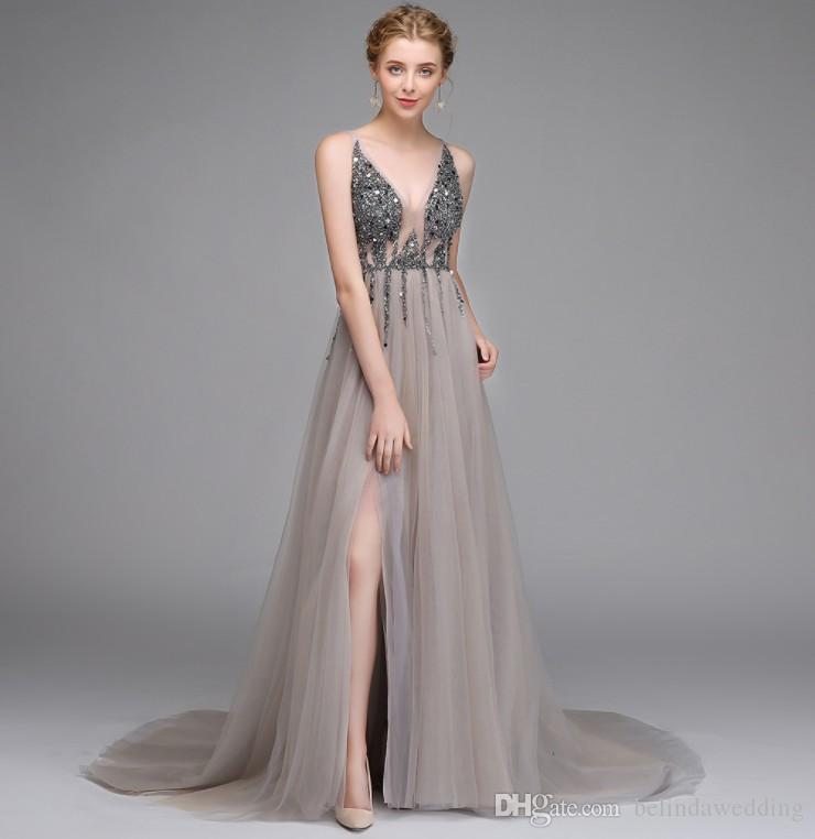 c4894cec3b Sexy Side Split Prom Dresses 2019 Deep V Neck Backless Beads Crystal Party  Gowns Sleeveless Sweep Train Cheap Tulle Party Dress Prom Dresses From  China Prom ...