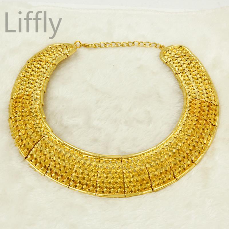 Liffly African Dubai Gold Jewelry Sets for Women Big Necklace Charm Design Fashion Charms Nigerian Bridal Wedding Jewelry Set