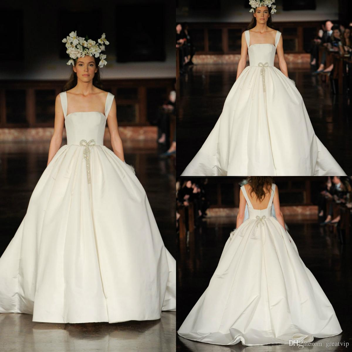 6352eefcf8 Discount Reem Acra 2019 Wedding Dresses Spaghetti Crystals Satin Plus Size  Princess Bridal Gowns Caften Beach Bohemia Robe De Mariée Wedding Dresses  Under ...