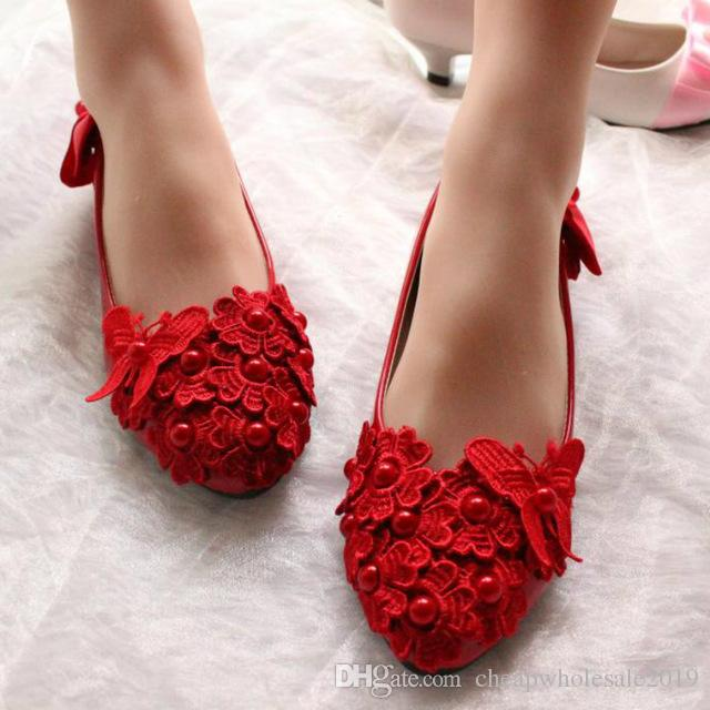 Flats red laces shoes for woman ladies girls party dinner red lace bow bowtie dancing flats shoes red with pearls