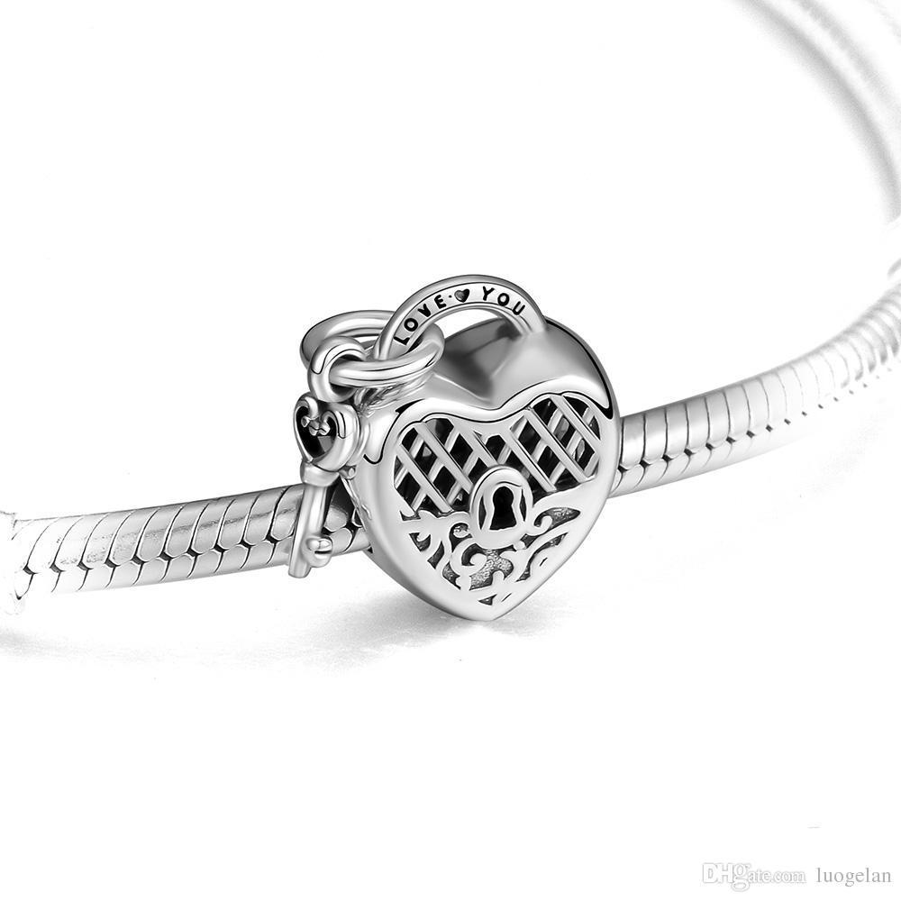 2018 الخريف 925 فضة مجوهرات أحبك قفل سحر الخرز يناسب باندورا أساور قلادة للنساء صنع المجوهرات