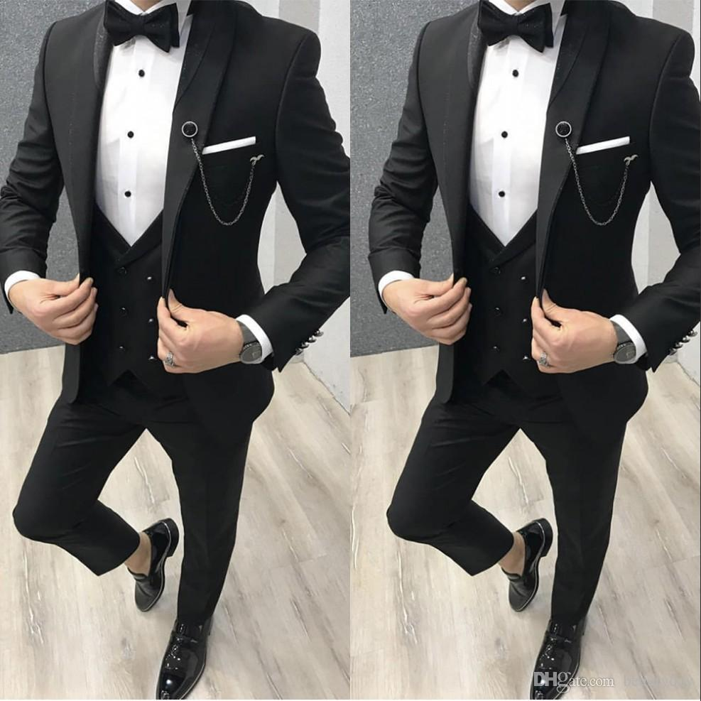 The Best Man Wedding 2020 2020 New Classy British Black Wedding Tuxedos Mens Suits Slim Fit