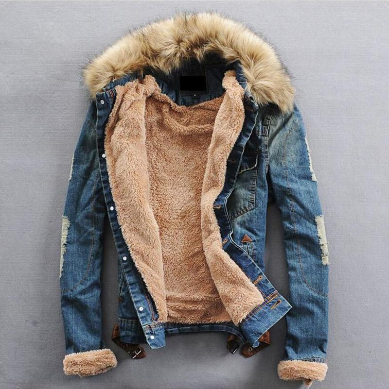 DropShipping Men Winter Denim Jackets and Coats Casual Jean Jackets Thicker Fleece Warm Denim Jean Coats For Male