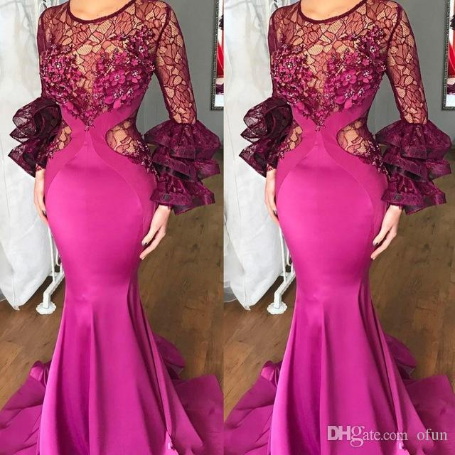 Gorgeous Jewel Neck Lace Illusion Fuchsia Mermaid Evening Dresses Ruched Long Sleeve Appliques Beads Sweep Train Formal Party Gowns
