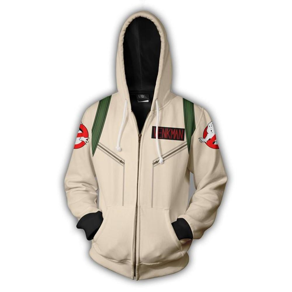 2019 Hooded Ghostbusters Zip Up Hoodie 3D Printed Hoodies Casual zipper hoodie hooded Ghostbusters Cosplay Zip Up