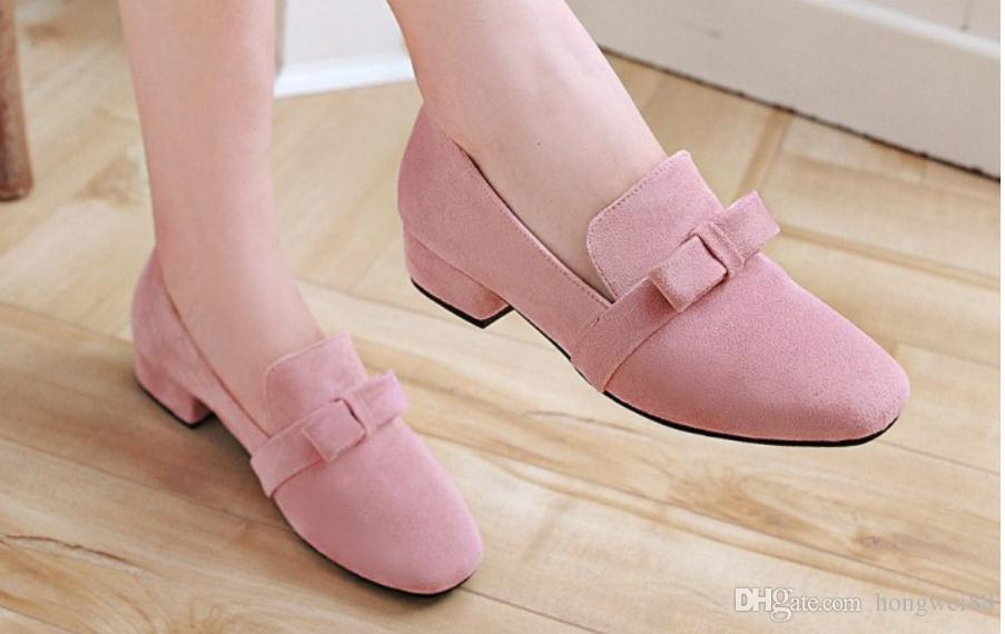 57dfff04 2019 Suede Bowknot Women's Shoes in Spring And Autumn with New Style ...