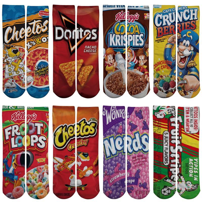 nouveau produit f20a1 cfd03 3D Socks Printed Cartoon Happy Socks New Food Long Socks Women Kawaii  Calcetines Femme Girls Cute Sports Funny Stocking LE361