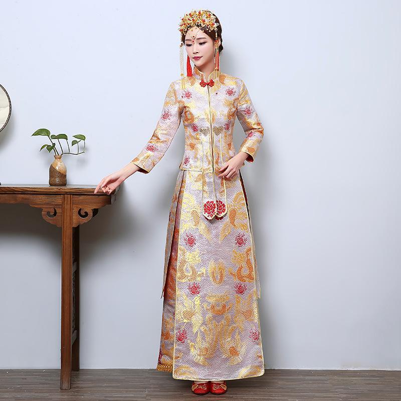 b23689f12608 Acquista Donne Abiti Da Sposa Orientali Robe Donna Da Donna Abito Da Sposa  Ricamo XiuHe Vestito Collare Cheongsam XH 14 A  99.5 Dal Mengranbb