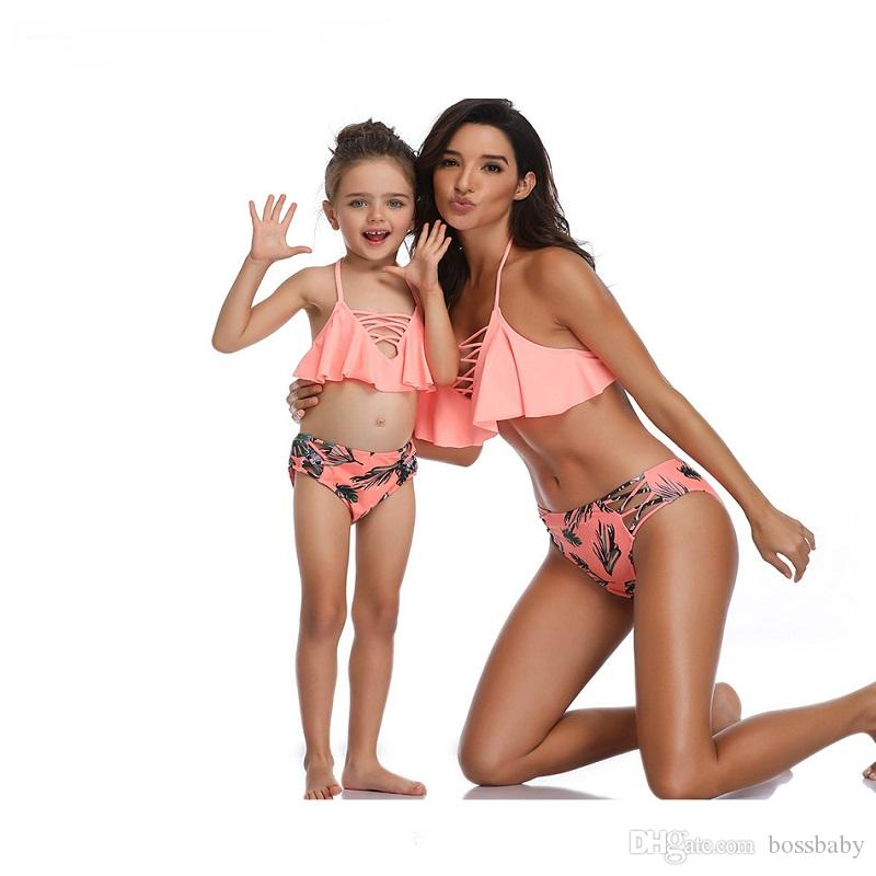 Split Parent-Child Swimwear Print High Waist Bikini Matching Clothes Women Swimwear Floral Print Solid Color Wading Clothing 61