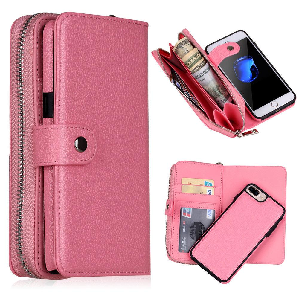 the latest ea1fc 6eb41 Removable Wallet Phone Case for iPhone 6 6S 7 8 Plus X Xr Xs Max PU Leather  Litchi Protective Shell Card Slot Purse Lanyard Back Cover