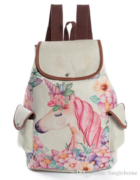 4b1dffaa47 Printed Unicorn Backpack Student Girl Linen Fabric School Shoulder Bag  Drawstring Rucksack Kids Travel Camping Satchel Girls Backpacks Drawstring  Backpack ...