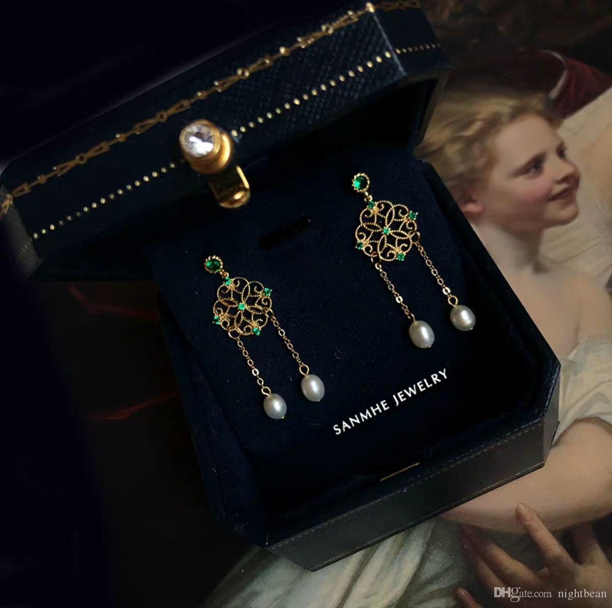 Vintage Baroque and Palace Oil Painting Style Nature High Quality Pearl and Green Crystal Women Earring S925 Silver Gold Filled