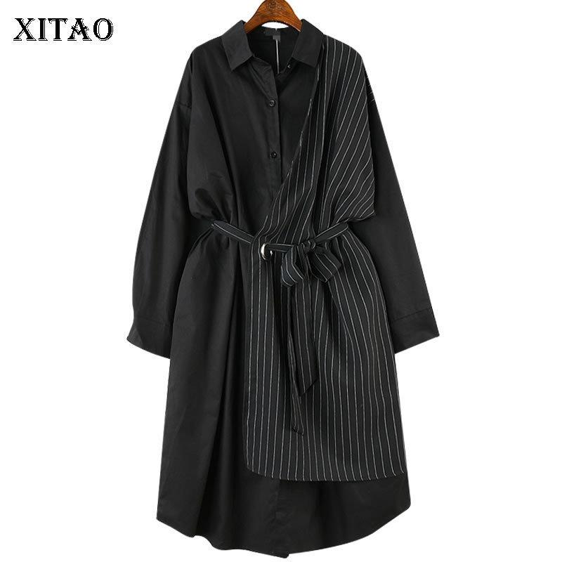 [xitao] Autumn 2018 Europe Fashion New Women Turn-down Collar Full Sleeve Dress Female Striped Asymmetrical Casual Dress Cxb1320 J190505