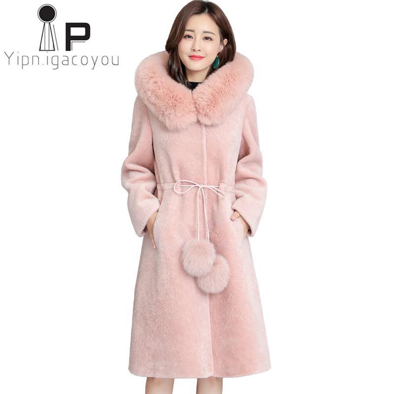 d75d71dafddaa 2019 Fox Fur Collar Hooded Faux Fur Coat Women Winter Long Fake Jacket  Women Overcoat Plus Size Elegant Thick Warm Outwear Female From Lvyou09