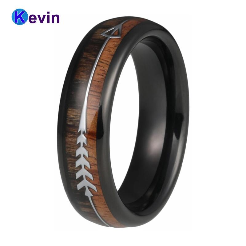Black Wedding Bands.Black Wedding Ring For Men And Women Tungsten Wedding Band With Double Wood And Steel Arrow Inlay Band 6mm
