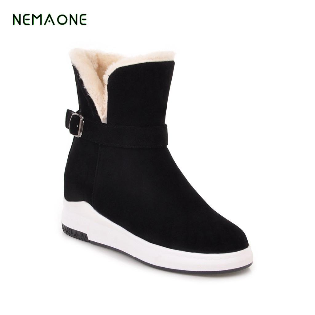5bf3d3cf Compre NEMAONE Invierno Femenino Cálido Peluche Tobillo Botas De Nieve Moda  Para Mujer Piel Encaje Hasta Talón Grueso Casual Sólido Negro Estilo Zapatos  A ...