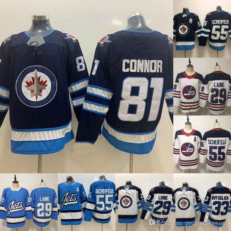 8760222d94b 2019 Mens Winnipeg Jets Jersey 81 Kyle Connor 26 Blake Wheeler 29 ...